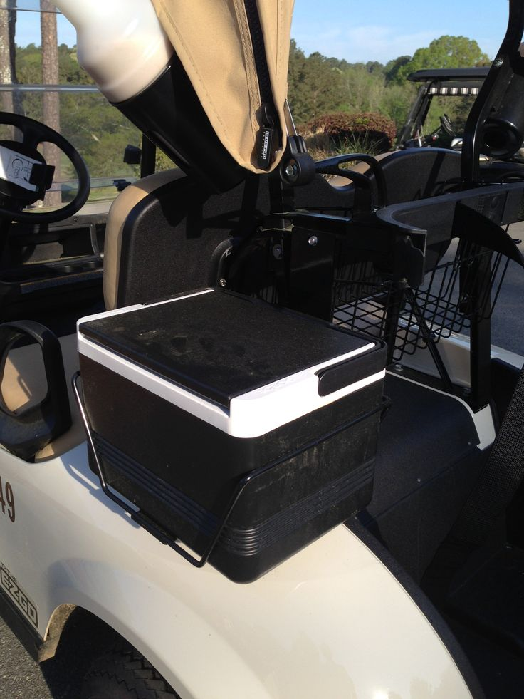 Golf cart coolers come in a variety of styles - this one attaches to the side of the cart while there is also one that goes on the front.