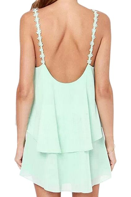 the prettiest minty dainty straps on a gorgeous flawy dress. perfect for summer.