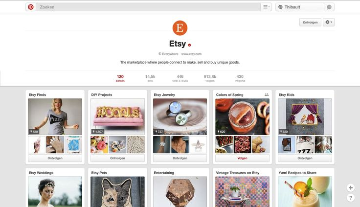 Etsy is een van de grootste online shopping websites. Via Pinterest zetten zij wat hun nauw aan het hart ligt in de kijker. De kerngedachte bestaat eruit dat men de consument wil informeren over hoe die hun producten kan gebruiken en er creatief mee aan de slag kan.  https://nl.pinterest.com/etsy/