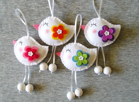 Spring Birds Felt Ornaments Cute Home Decor Funny Birds Flowers animals, Felt Ornaments spring home decor, felt decor, Set of 4 pieces This Felt birds set includes 4 felt birds. They can decorate a working place,a window, a wall, or the Holiday table! All ornaments have two side embroidery and ribbon length 2.8 (7 cm). Ornaments dimensions 2.8 x 3.2(7 x 8 cm). This set would make a great gift. ***************************************************** • If you would like to purchase any of the...