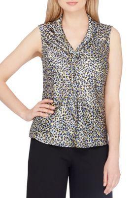 Tahari Asl Women's Petite Size Sleeveless Sailor Collar Animal Print Blouse - Curry/Black - Pxl