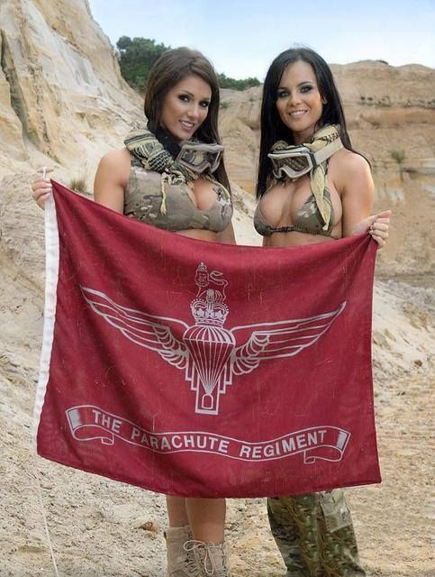 "These 2 girls support the ""Reg"" and to prove it, if you look real close you will notice the Parachute Regiment Flag their holding.."