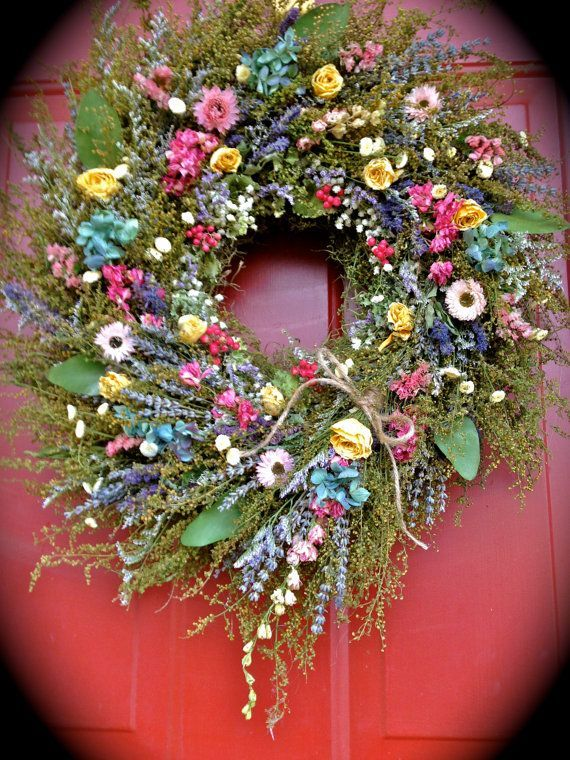 Cottage Garden Dried Flower Wreath Wreath Dried Floral