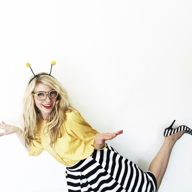 Grab your favorite striped skirt and a yellow top for an instant bee costume.