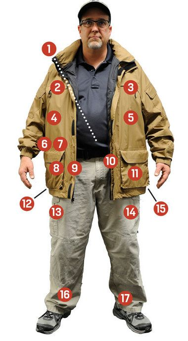 Pete Buchwalter, a range master at Hoover Tactical Firearms, is carrying 17 concealed weapons in this photo. Here's what he's packing and where. See the video showing the location of each handgun below.