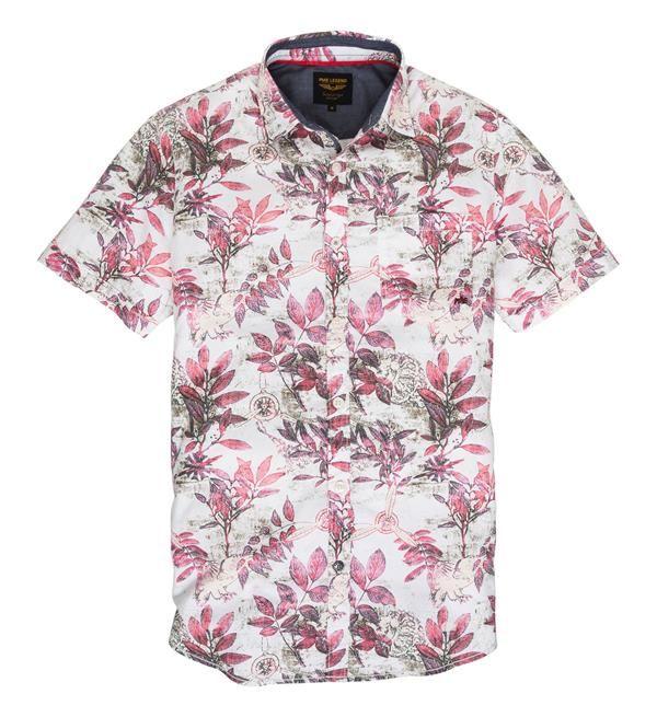 PME Legend blouse met all over bloemen print. Deze blouse heeft een borstzakje en korte mouwen. 100% katoen