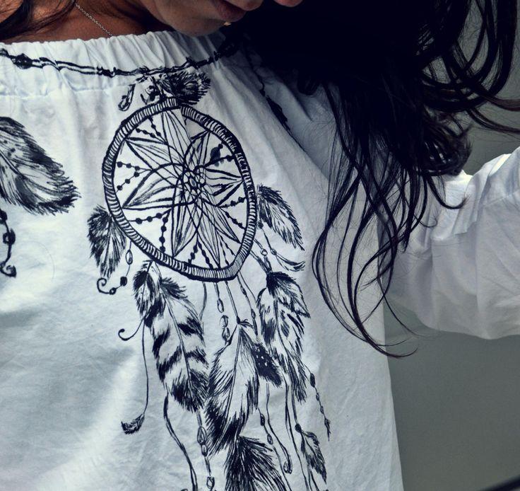 Ręcznie malowana koszulka hand painted t-shirt dream catcher, łapacz snów