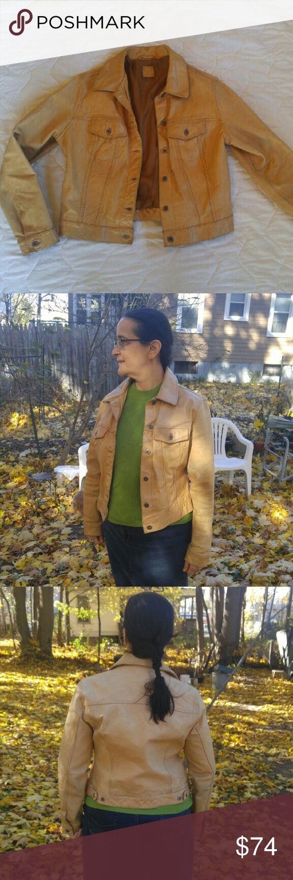 Vintage yellow leather Gap jacket Vintage Gap motorcycle Jacket. Genuine leather. Fully lined. Two breast pockets with buttons. Fits like medium. GAP Jackets & Coats