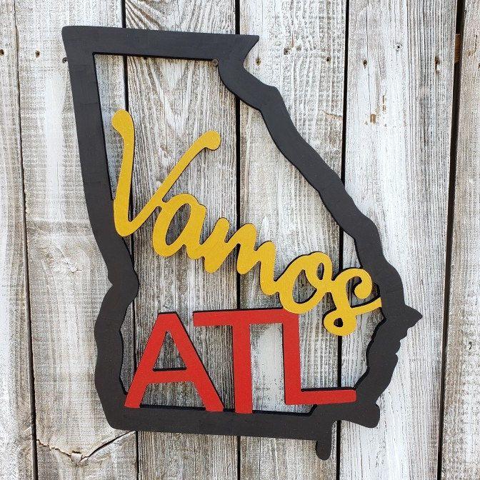 Vamos Atl Atlanta United Wood Door Hanger Sign Etsy In 2020 Acrylic Craft Paints Gallery Wall Decor Wood Door Hangers