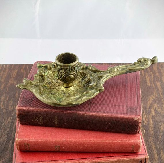 Art Nouveau Candlestick Holder  Brass by LoAndCoVintage on Etsy
