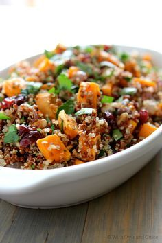 quinoa, sweet potatoes, toasted pecans and dried cranberries.