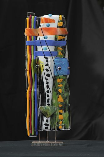 """Agatha by Suzanne Wallace Mears  kiln formed glass  22"""" tall $2100 #glass #abstractart #canyonroad #contemporary #santafe"""