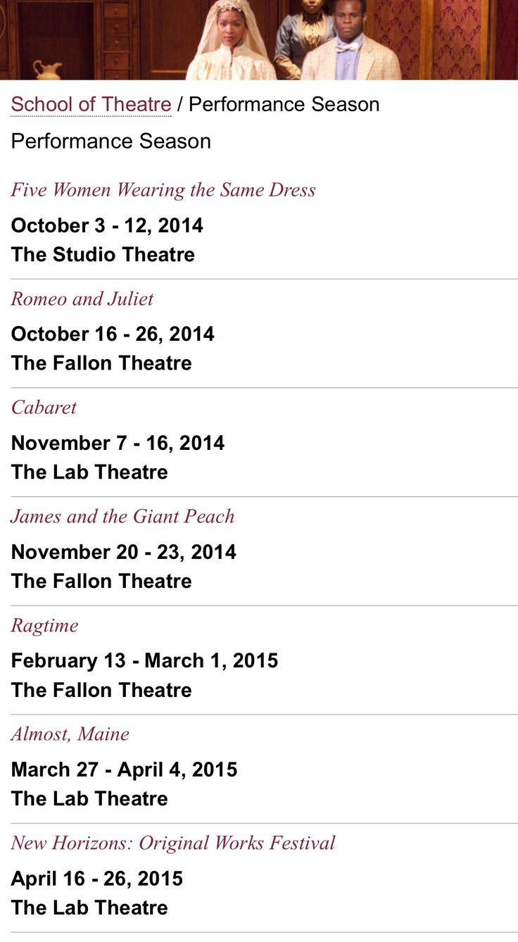 FSU School of Theatre Calendar 2015
