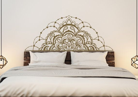 Mitad etiquetas de la pared del vinilo del Mandala para dormitorio - Mandala etiqueta coche-Mandala ventana etiqueta-cabezal Master dormitorio etiqueta Mandala decoración de la pared #58