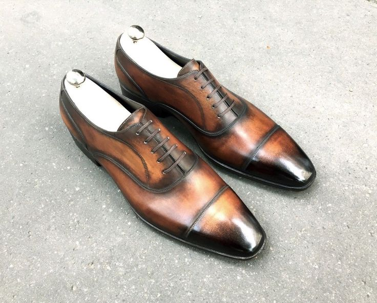 New Handmade Oxford Two Tone Leather Shoes, Brown Denim Dress Formal Shoes Men's - Dress/Formal