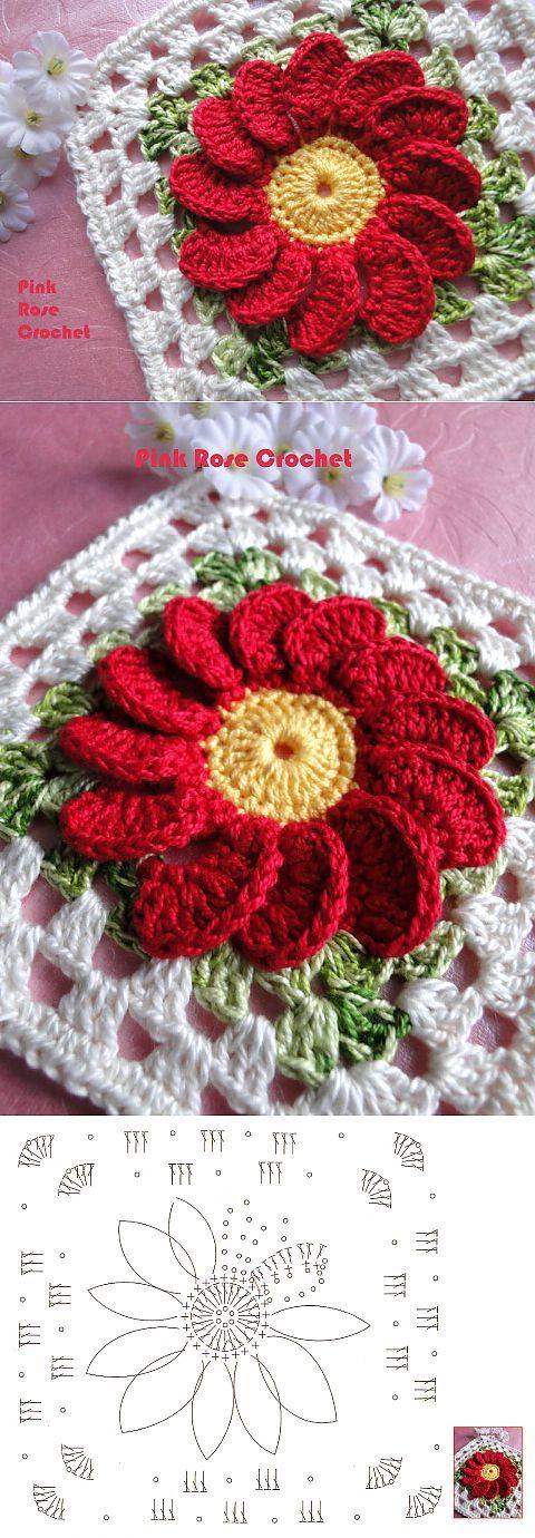 Яркий мотив с цветочком. | ВЯЗАНИЕ | Постила