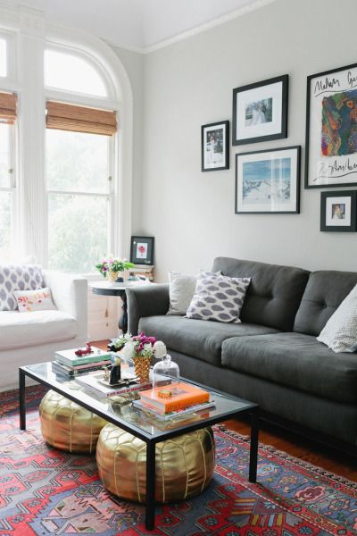 Living Room Light Gray Walls Dark Couch Pops Of Color