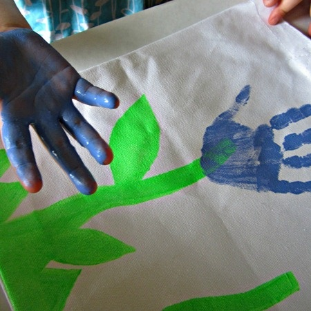 Kids Craft: Hand Print Flower Apron for Mom
