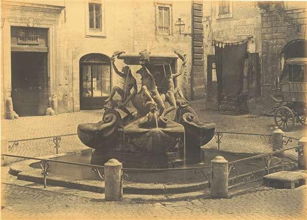 1858 circa autore non identificato . Piazza Mattei con la fontana delle Tartarughe.