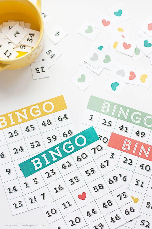 Printable bingo cards for a family night