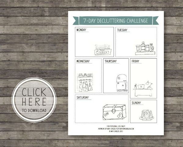 7 Day Decluttering Printable by @mayicarles
