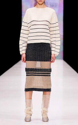 Knit Pleated Midi Skirt by KSENIASERAYA for Preorder on Moda Operandi