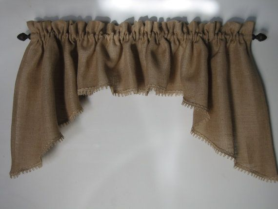 Classic  Country Burlap Swag Window Valance by HighFarmPrimitive, $60.00