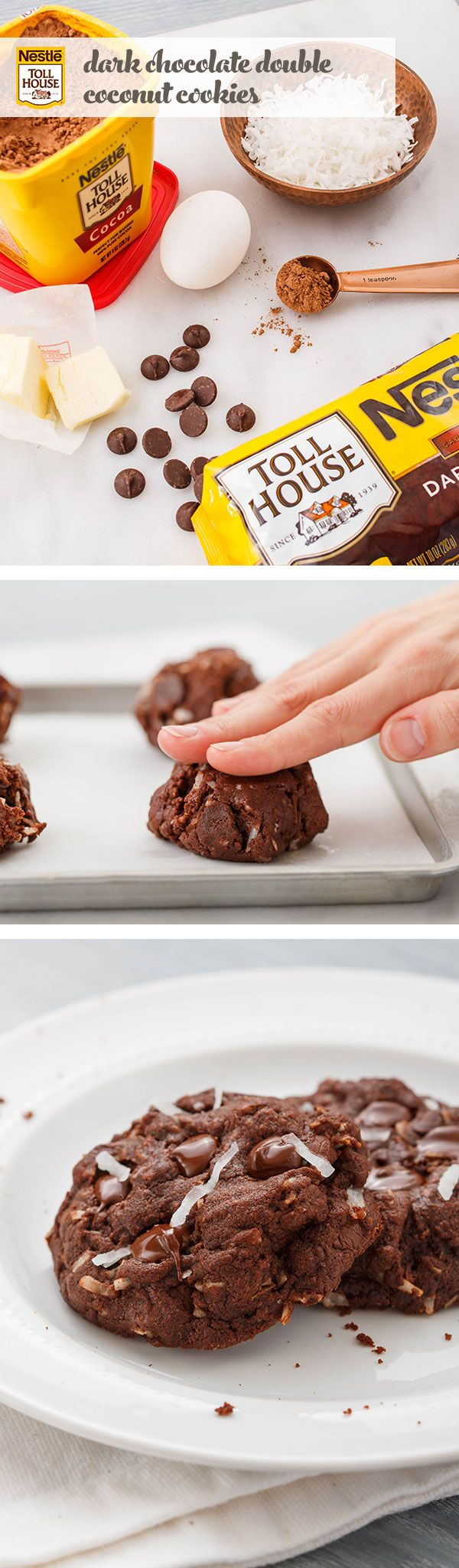 Insanely rich, chewy and chocolaty, these Dark Chocolate Double Coconut Cookies are irresistible. In just 20 easy minutes, you can indulge in a tempting bite. Start by mixing the ingredients according to the recipe, folding in Nestlé® Toll House® Dark Chocolate Morsels and shredded coconut. Spoon onto a prepared baking tray and bake for 14 minutes. The only way to make this treat even better? Share it with someone who gives you butterflies and makes every day seem special.