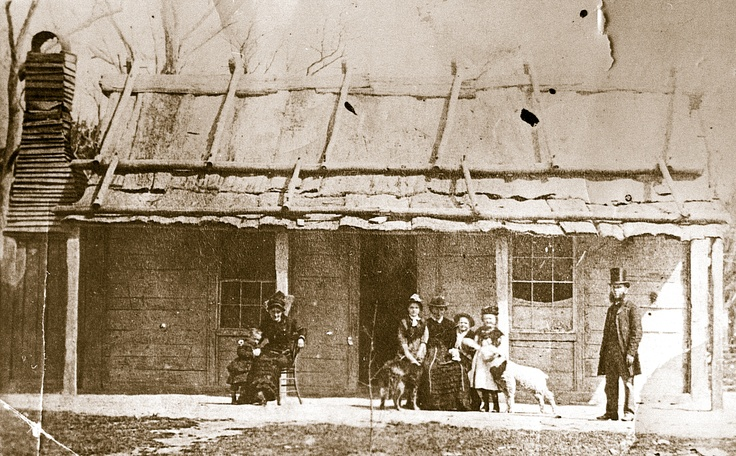 Ellen Kelly's release from prison in February 1881 is commemorated by this photo taken at the Kelly homestead. Scarcely more than two months later, Constable Robert Graham visited here with Father Thomas Egan of Wangaratta and gained Mrs Kelly's help in defusing the ongoing Kelly rebellion.