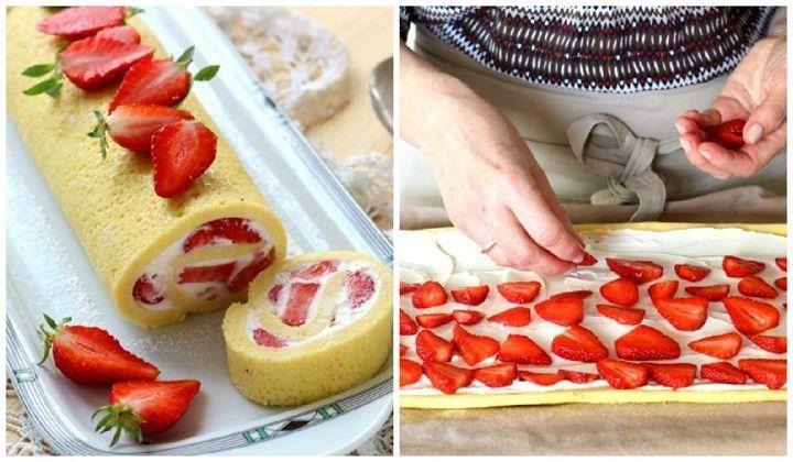Una receta en la que la fresa es la protagonista indiscutible y ¡una buena idea para la hora de la merienda!Prepara este delicioso bizcocho enrollado de fresa paso a paso.