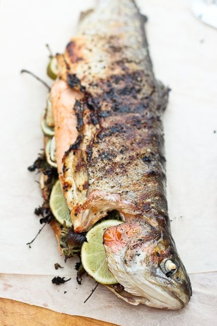 Grilled Whole Trout   http://www.natoora.co.uk/shop/fishmonger/whole-fresh-fish/whole-cornish-farmed-rainbow-trout/prod17228.html