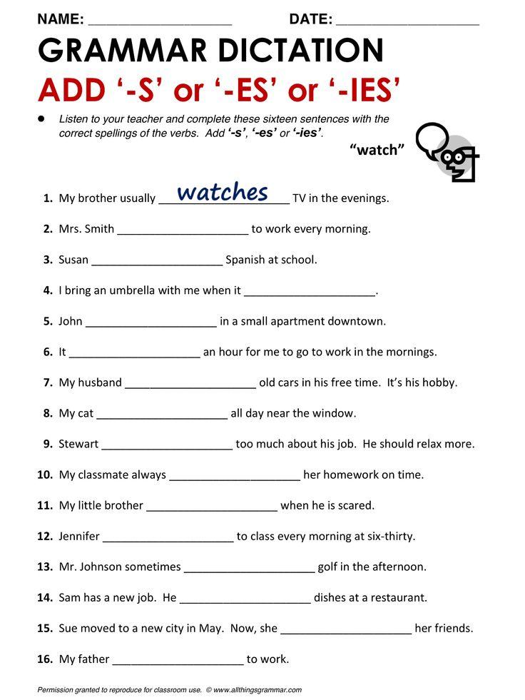 Printable Worksheets third person singular worksheets : 40 best PRESENT SIMPLE images on Pinterest | English grammar ...