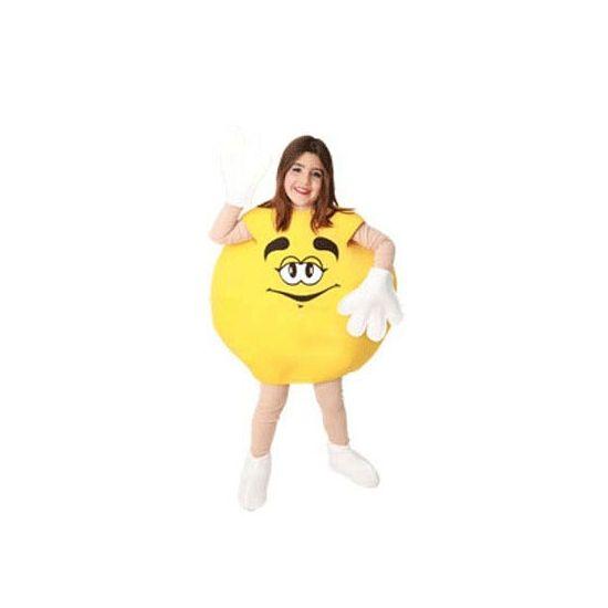 Geel snoep kostuum voor kinderen. Compleet kinder kostuum van een snoepje in de kleur geel. Het snoep bestaat uit het gele lichaam, handschoenen en schoenhoezen. Excl. huidskleurige jumpsuit. Geschikt voor kinderen van max. 1.40 meter.