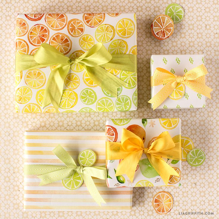 Printable Citrus Gift Wrap With Watercolor Designs