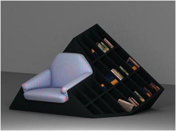 Chair in a Bookshelf-Coolest Bookshelves