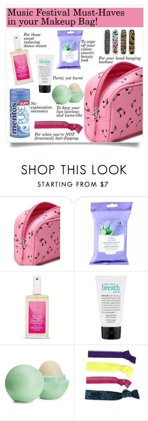 """""""Music Festival Must-Haves in your Makeup Bag!"""" by makingastatement ❤ liked on Polyvore featuring beauty, Forever 21, Almay, Weleda, philosophy, Eos, Glam Bands, contestentry and musicfestivalstyle"""