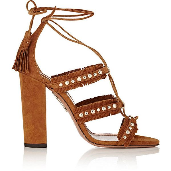 Aquazzura Women's Tulum Lace-Up Sandals ($359) ❤ liked on Polyvore featuring shoes, sandals, brown, strappy high heel sandals, brown fringe sandals, brown flat sandals, embellished flat sandals and strappy sandals