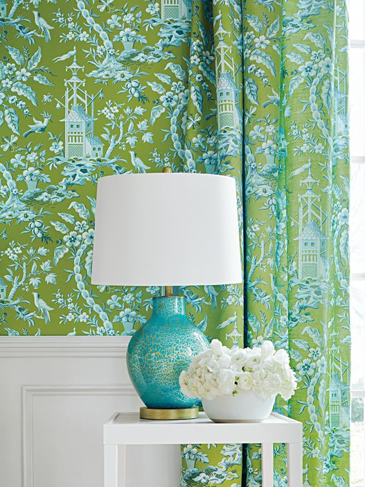 green, aqua white wallpaper, Thibaut, pagoda pattern, aqua ...