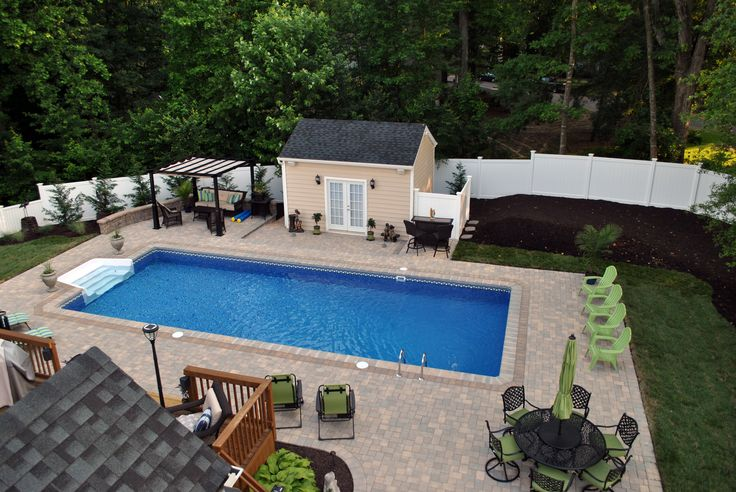 pavers, rectangle pool, pool house, french doors, fence..perfect size