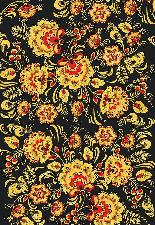 Folk Khokhloma painting from Russia. A floral pattern in black, red and golden colours.