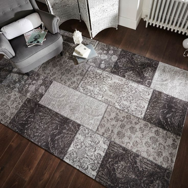 Manhattan Patchwork Chenille Rugs In Black And Grey Feature A Stylish Design Homedecor