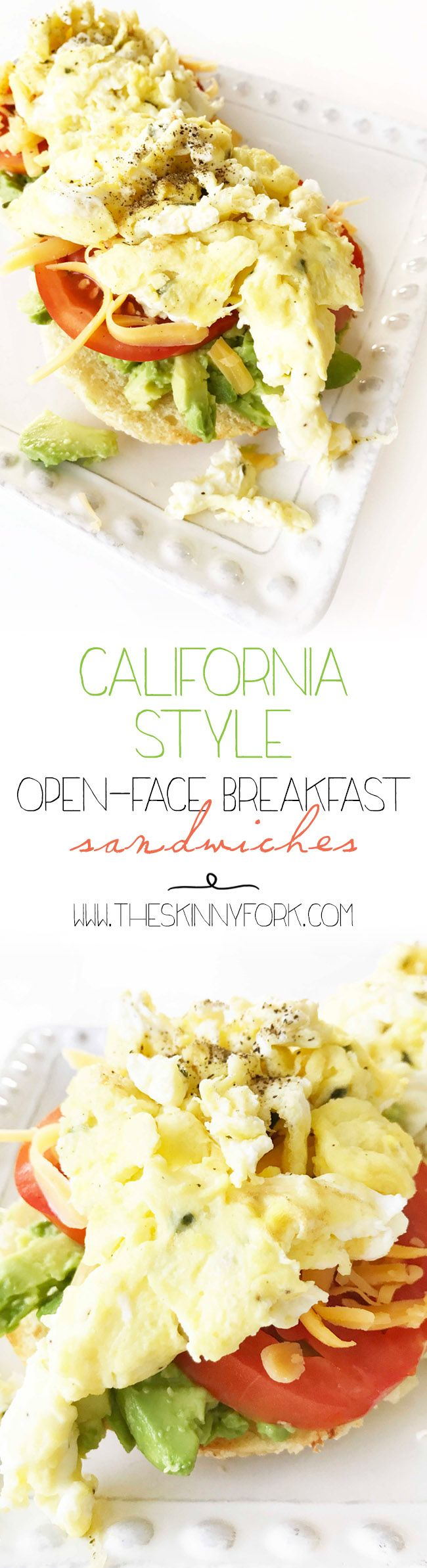 These California Style Open Face Breakfast Sandwiches are where it's at! Enjoy one of these sandwiches this weekend with a mimosa or two for brunch. TheSkinnyFork.com | Skinny & Healthy Recipes
