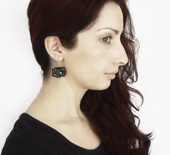 Earrings contemporary modern jewelry design FREE Shipping by DeUno