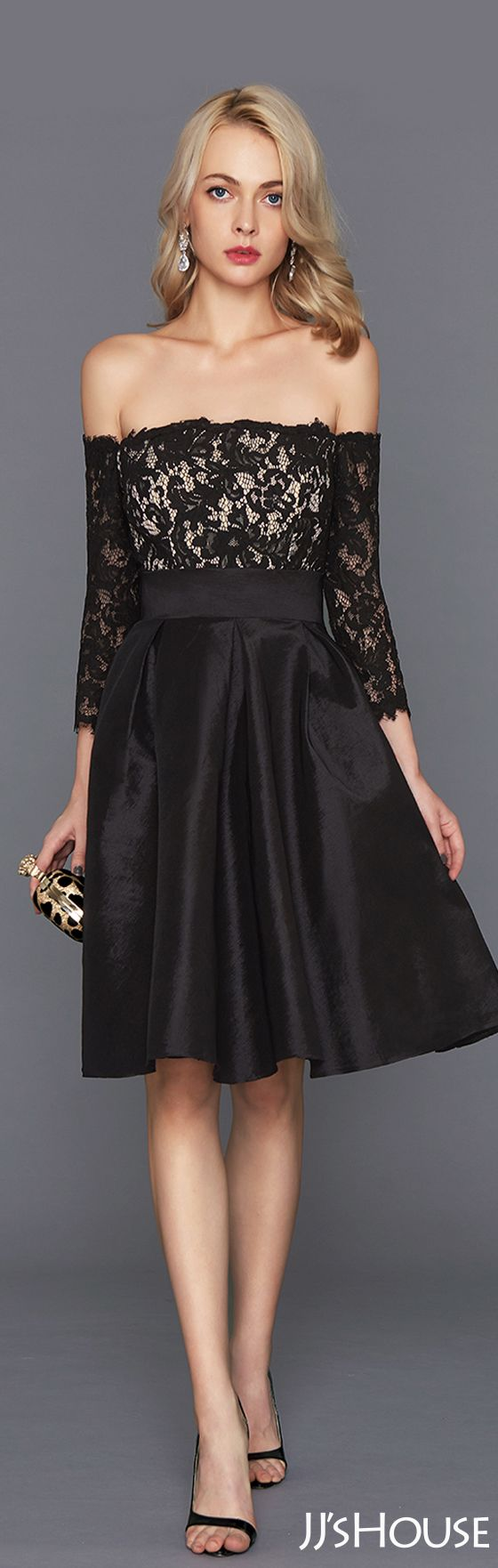 Black Cocktail Dresses with Bow