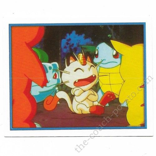 Pokemon Sticker Card  Meowth Charmander Bulbasaur Squirtle Pikachu # 037 2x3 inches Merlin 2000 TV show pictures