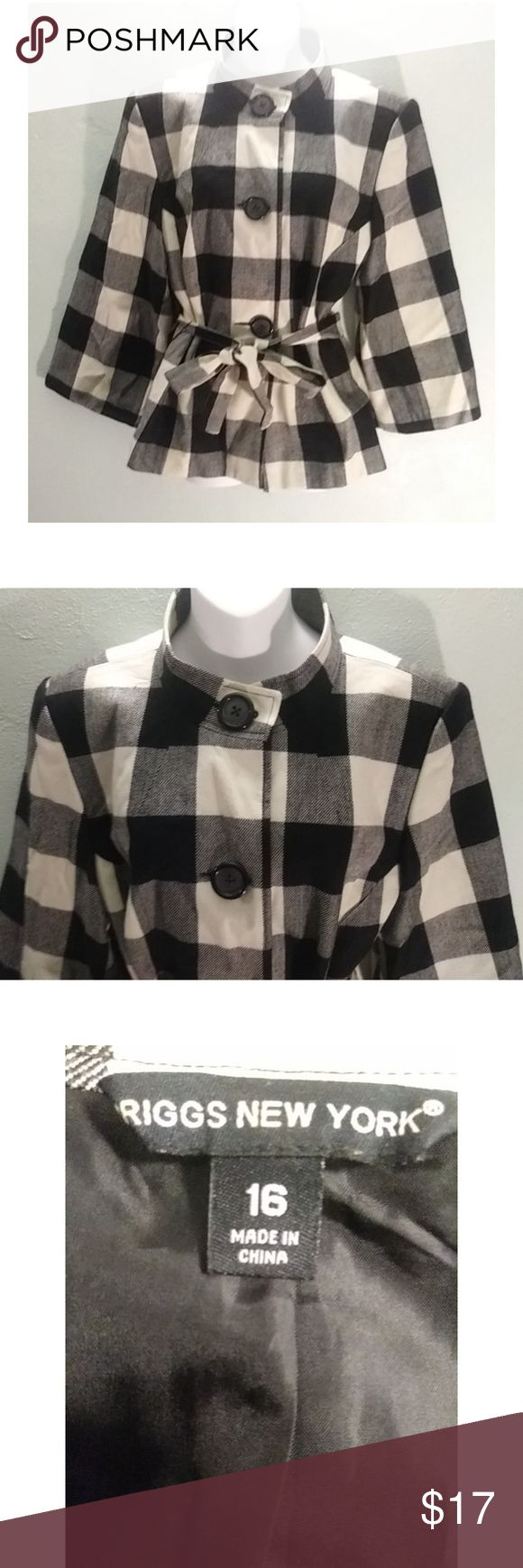 """Briggs New York black & white plaid jacket A classy Briggs New York black & white plaid jacket to showcase around the town in. Has a belt to define your shape. Size: 16 Underarms: 21"""" Arm length: 20"""" Length: 25"""" briggs new york Jackets & Coats"""