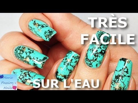 Tuto Nail Art: Pierre Turquoise (vernis sur l'eau) - YouTube