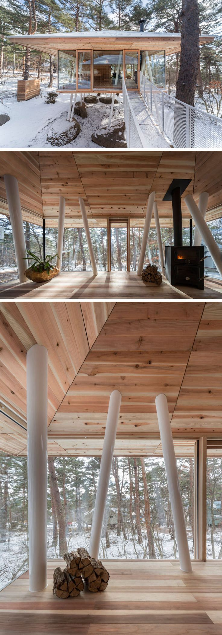 Architecture firm Life Style Koubou, have designed the 'One Year Project', a vacation home in Japan that features two separate buildings positioned on stilts and connected by a bridge. #Architecture #ModernArchitecture #Stilts #VacationHome #JapaneseArchitecture #InteriorDesign #Wood