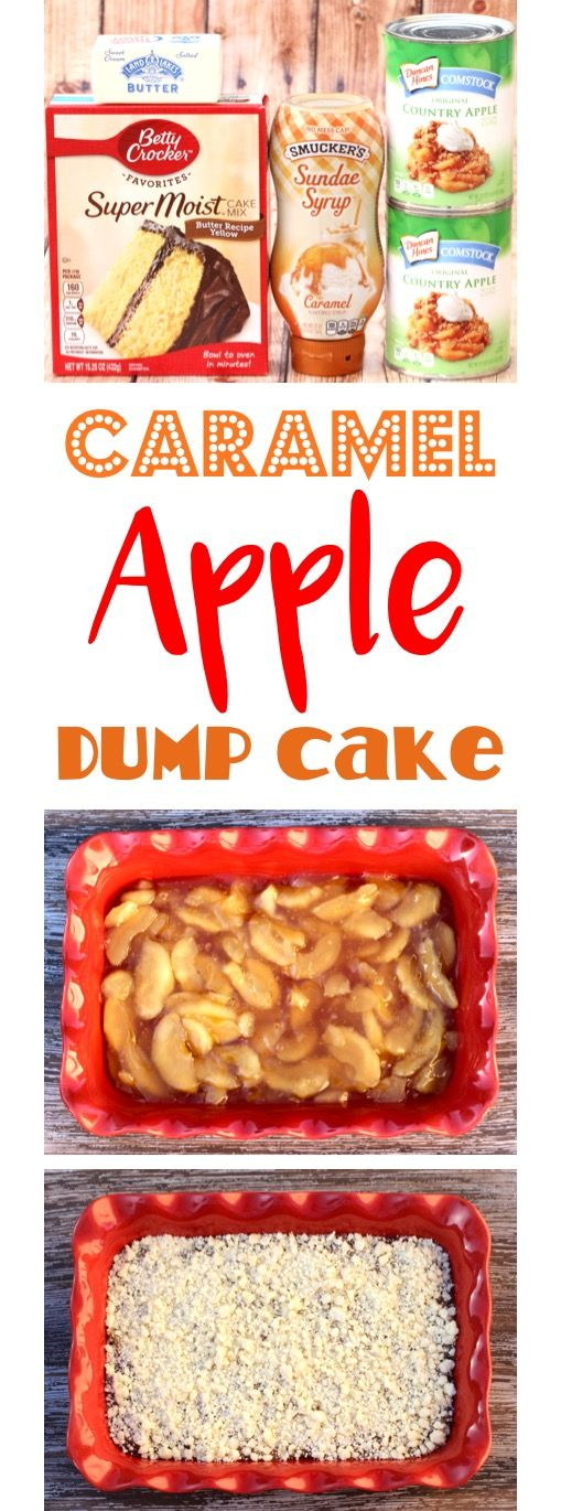 Caramel Apple Dump Cake Recipe!  Just 4 ingredients, and you've got the dessert everyone goes crazy for!  So EASY!  | TheFrugalGirls.com