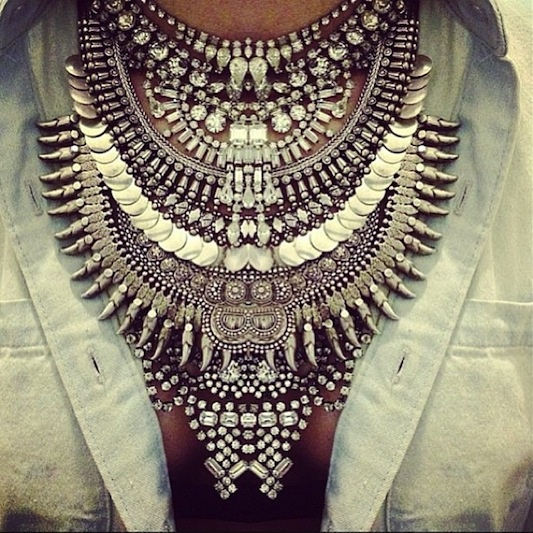 major crazy boho ethnic inspired metal statement necklace pop